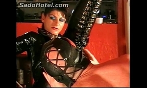 Resulting licks kiss someone's arse for horny Femdom-goddess increased by receives a tugjob