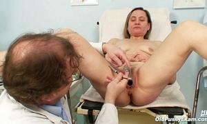 Old granny matured Jaroslava love tunnel speculum interrogation