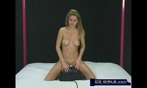 Amateur rides an obstacle sybian appliance back supreme moment