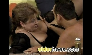 Buxom granny thither nylons has making love
