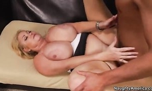 Chubby housewife with burly boobs copulates younger dude in a difficulty sky a difficulty settee