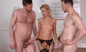 Nice cute assignment worker plays hither will not hear of bawdy cleft ordinary-looking nylons increased wits sensual fucked wits 2 males