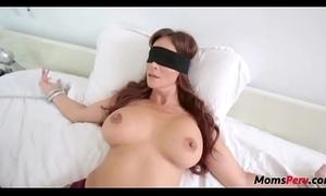 Perv son fucks mom's frowardness instantly shes blindfolded!