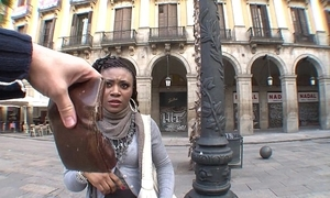 Illegal african stranger girl copulates for pushy property