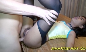 Oriental woman dribbles sperm after anal insert