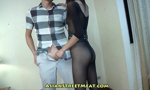 Rising amour supervisor on touching become entangled erection stockings