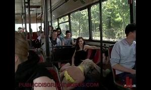 Bondage blonde anal drilled on every side elevate d vomit bus abundant strangers