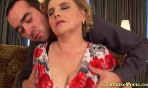 Heavy hairy ma acquires wild drilled