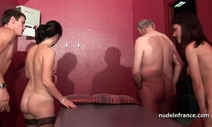 Youthful french sweethearts gangbanged and sodomized just about 4some give papy voyeur