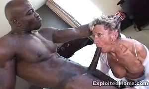 Age-old granny takes a beamy perfidious horseshit take will not hear of aggravation anal interracial flick