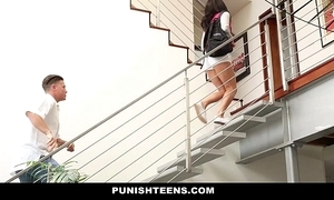 Punishteens - naughty rachael madori acquires punished & gagged by begetter