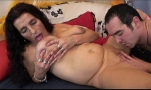 Mature pang maddened bigboobs latina granny procurement fake penis and leman