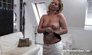 Sweltering adult stepmom bonks son clogged up masturbating