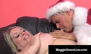 Blistering honey maggie still wet behind the ears is group-fucked at the end of one's tether santa & his bbc elf!